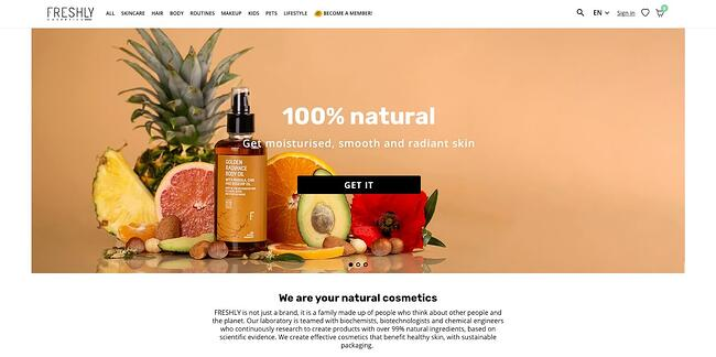 homepage for the freshly website, powered by the prestashop cms