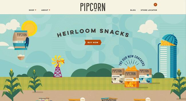 homepage for the pipcorn website, powered by the shopify cms