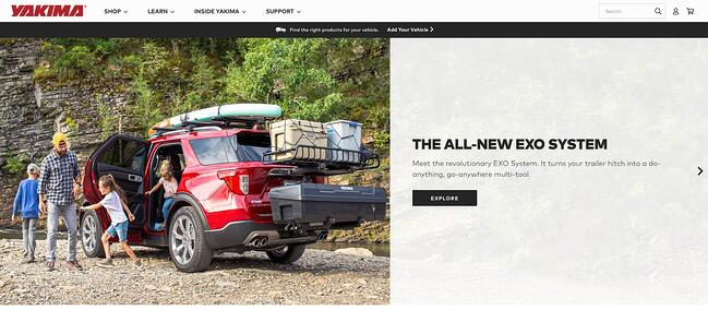 homepage for the yakama website, powered by the magento cms