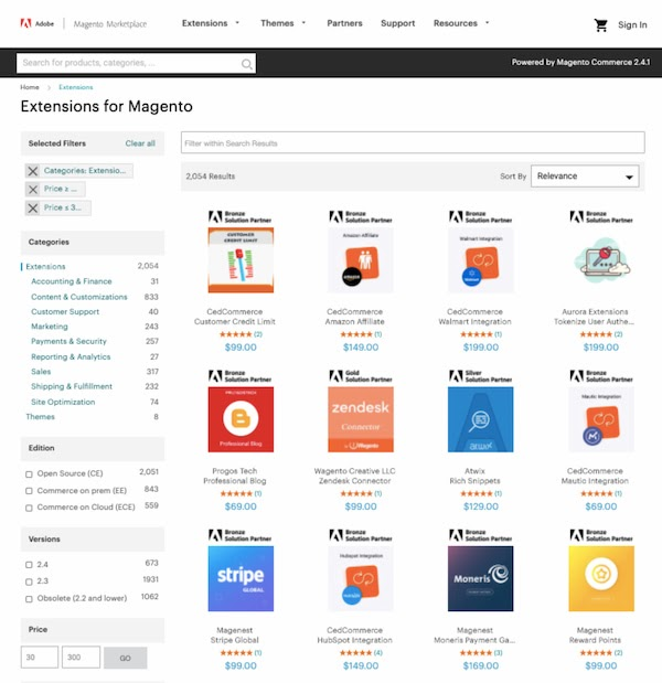 Small selection of premium extensions available in the Magento marketplace-1