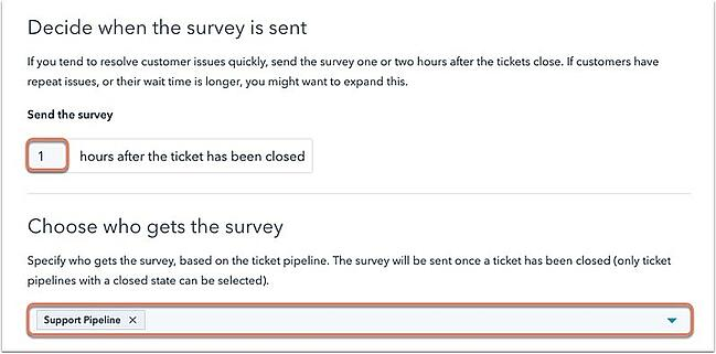 how to create a feedback form hubspot choose send timing and recipient list