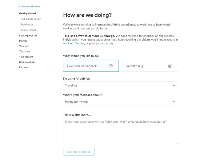 feedback form example from airbnb