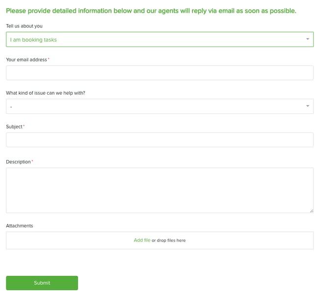 feedback form example from taskrabbit