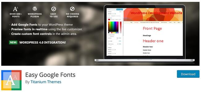 download page for the wordpress google fonts plugin easy google fonts