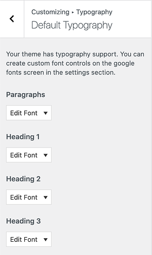 heading selector panel for the easy google fonts plugin