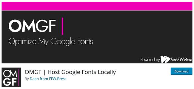 download page for the wordpress google fonts plugin OMGF