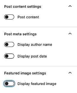 the latest post block settings in the wordpress page editor