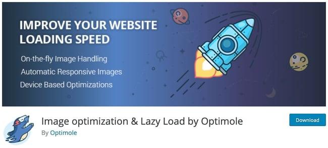 plugin download page for the wordpress lazy loading plugin optimole