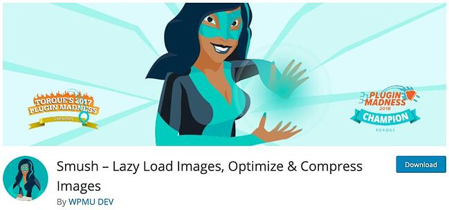 plugin download page for the wordpress lazy loading plugin smush