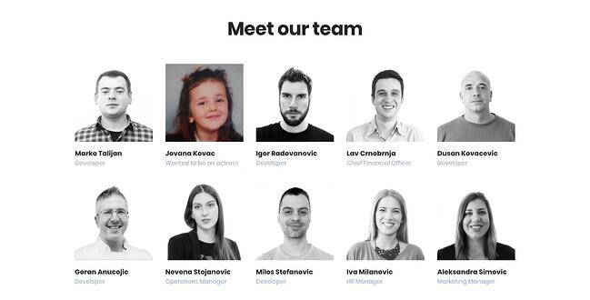 meet the team page: cloud horizon example