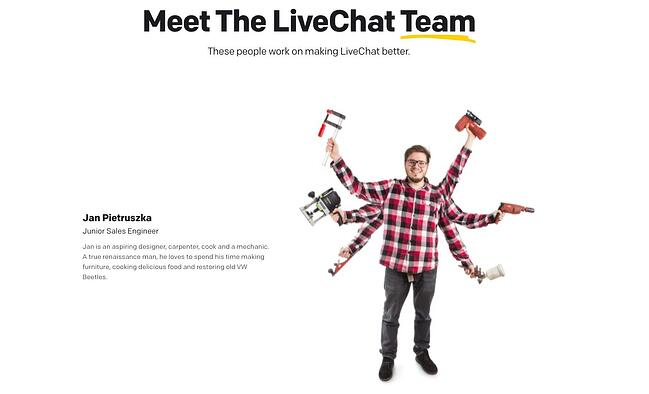 meet the team page: livechat example