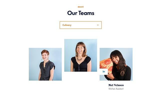 meet the team page: heart creative example