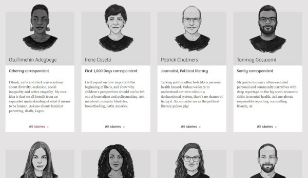 meet the team page: the correspondent example
