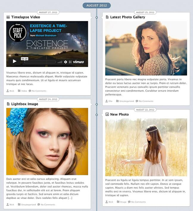 example of a facebook timeline style page made with the postline theme