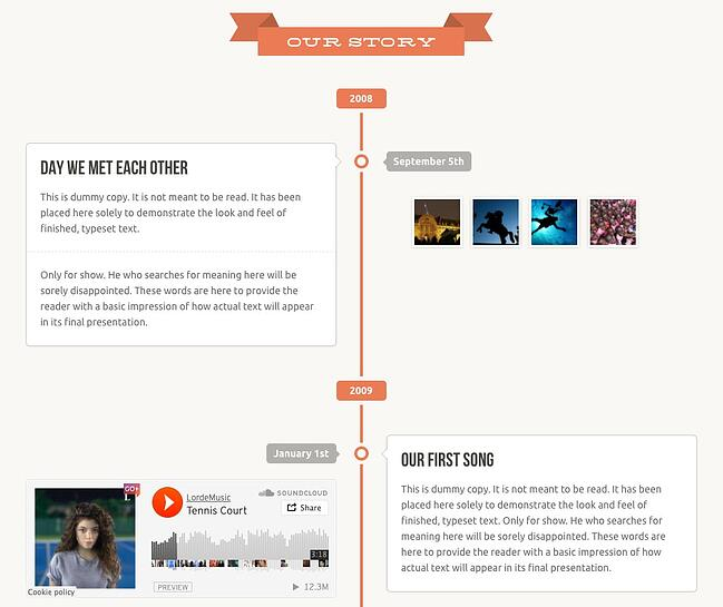 example of a facebook timeline style page made with the wedding wordpress theme