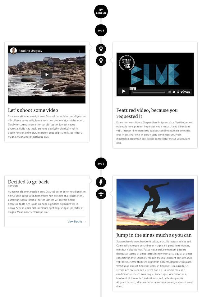 example of a facebook timeline style page made with the awsm theme