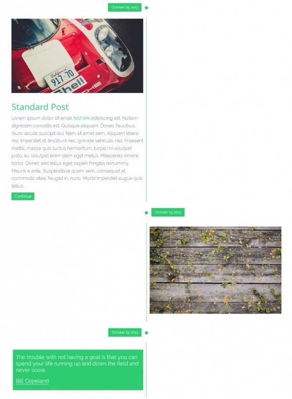 example of a facebook timeline style page made with the tieme wordpress theme