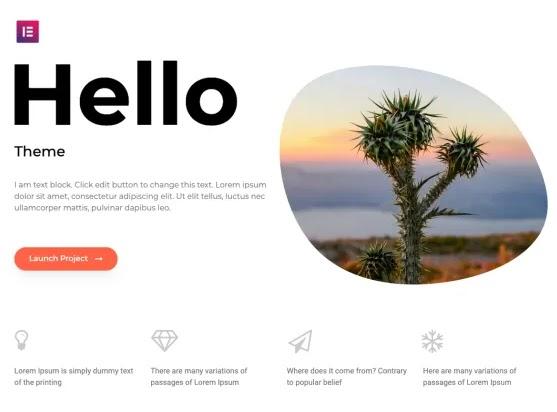 preview of the hello elementor wordpress theme