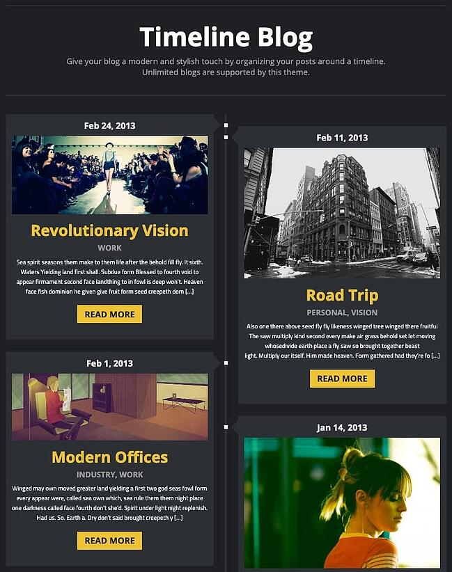 example of a facebook timeline style page made with the twisted theme