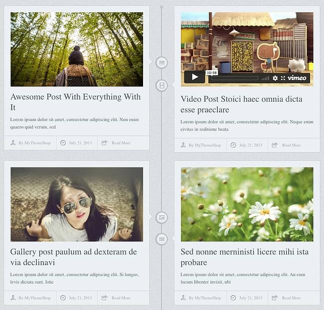 example of a facebook timeline style page made with the chronology theme