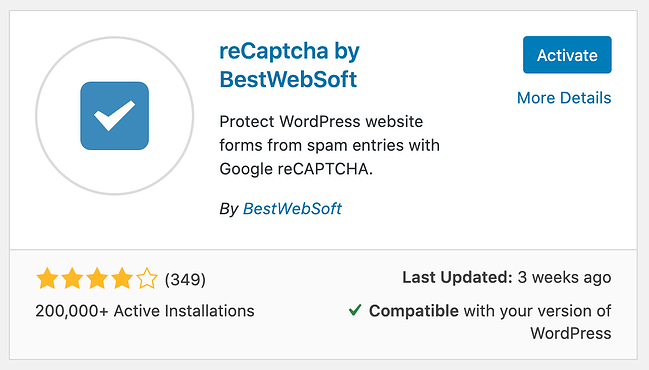 installation page for the google recaptcha plugin