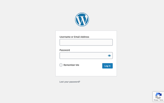 the wordpress login page with google recaptcha enabled