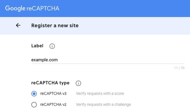 registration page for google recaptcha
