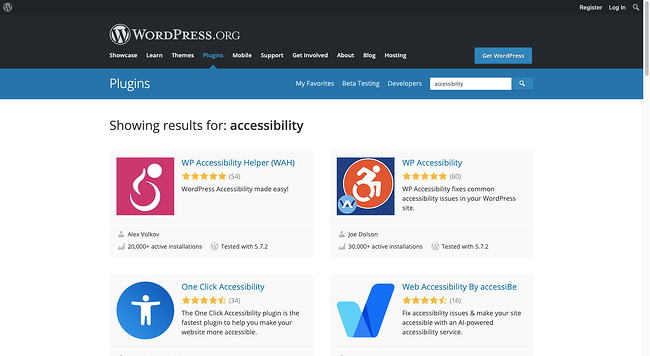 list of accessibility plugins in WordPress directory