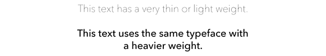 Sentence with heavier font weight is more accessible than sentence with light weight