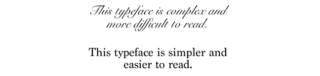Side by side comparison of simple and complex typography