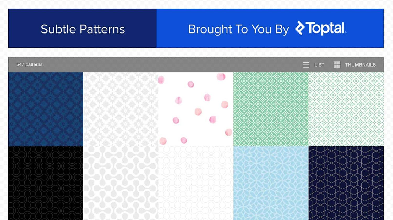 homepage for the web textures resource Subtle Patterns