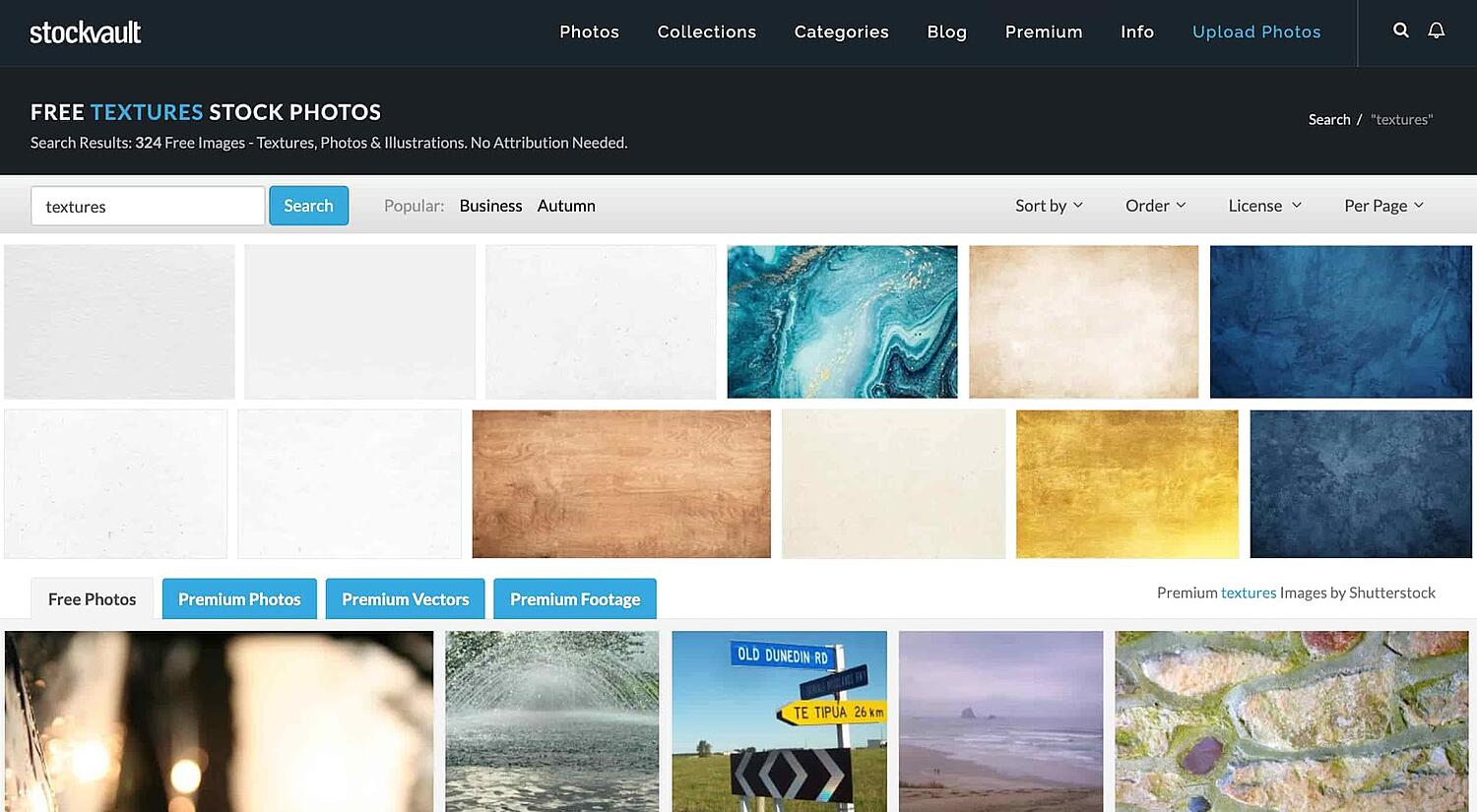 homepage for the web textures resource Stockvault