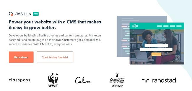 HubSpot website showing CMS Hub landing page that says power your website with a CMS that makes it easy to grow better