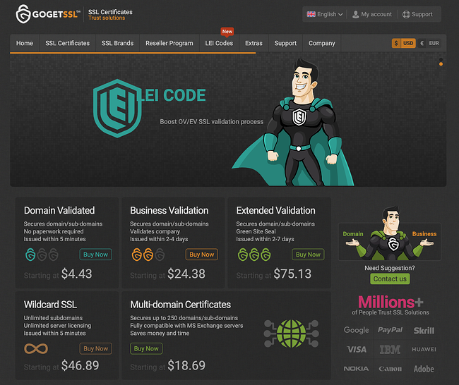 Go Get SSL website showing domain validates, business validation, and extended validation certificates. A black background a animated image of superman in a teal cape appear at the top of the page