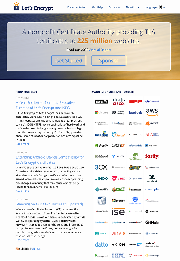 Lets Encrypt Certificate Authority website homepage that says a nonprofit certificate authority providing TLS certificates to 225 million websites get started or sponsor