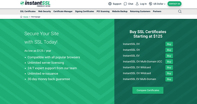 Dark and Light green Instant SSL website screenshot inviting you to secure your site today and buy SSL certificates starting at $125.