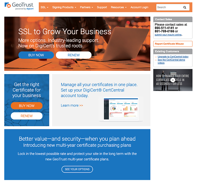 Orange, Blue, and White GEOTrust website showing SSL products and a headline that reads SSL to Grow Your Business Buy now or renew.s