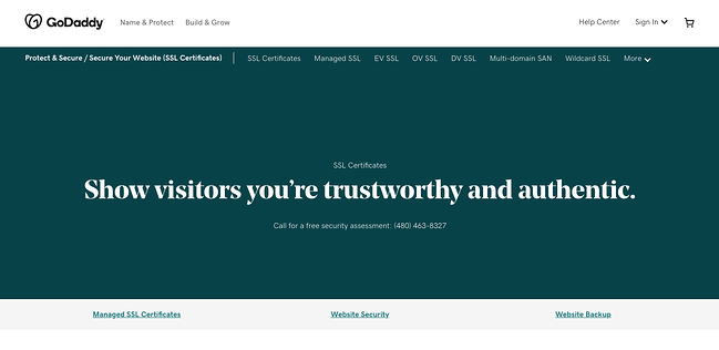 GoDaddy website showing SSL Certificates, website, security, and website backup. Show visitors you're trustworthy and authentic