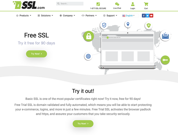 Green and white Basic SSL website homepage inviting you to try out their free SSL certificates.