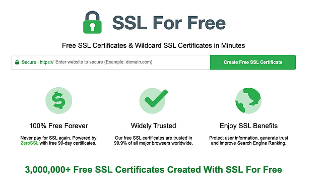 SSL For Free website showing certificates and wildcard SSL certificates information that is 100 percent free forever, widely trusted and enjoy SSL benefits
