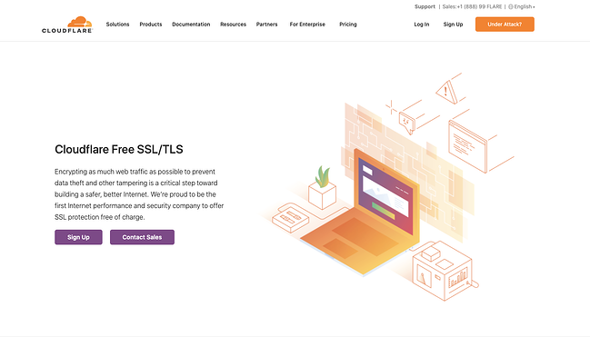 Cloudflare Free SSL/TLS website landing page showing an animated orange laptop with a purple screen and text that says Cloudflare Free SSL/TLS and calls-to-action that say sign up and contact sales in purple