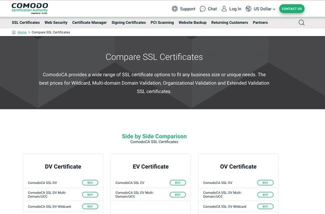 Comodo SSL Certificate website page showing a comparison among DV EV and OV certificates