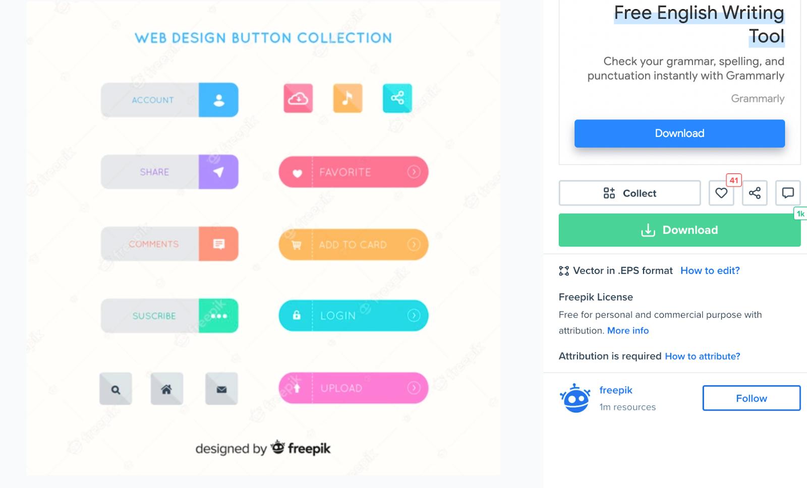 website buttons: Freepik example