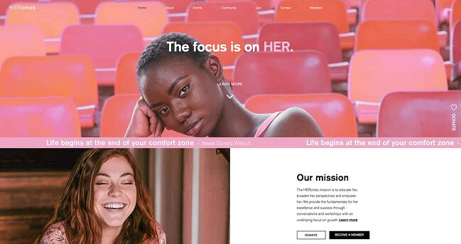 examble of website design on the website for HERoines Inc