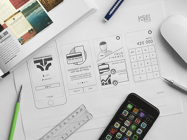 Detailed, hand-drawn wireframe example
