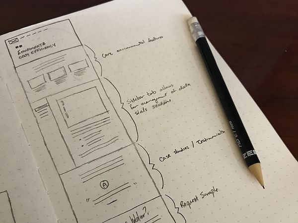 Hand-drawn wireframe example