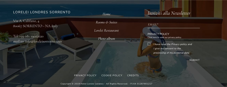 Website footer on Lorelei Londres Sorrento Hotel