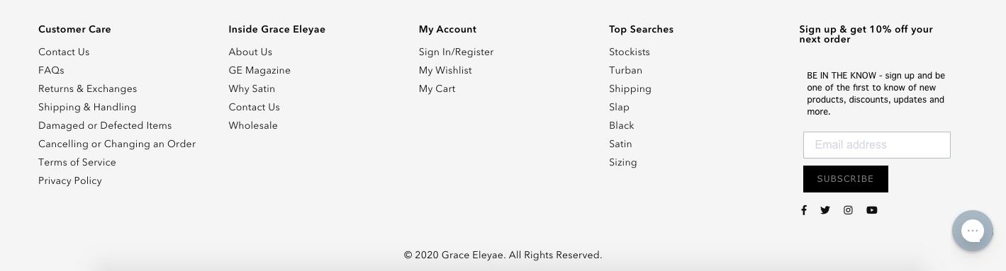 Sitemap footer on Grace Eleyae's website