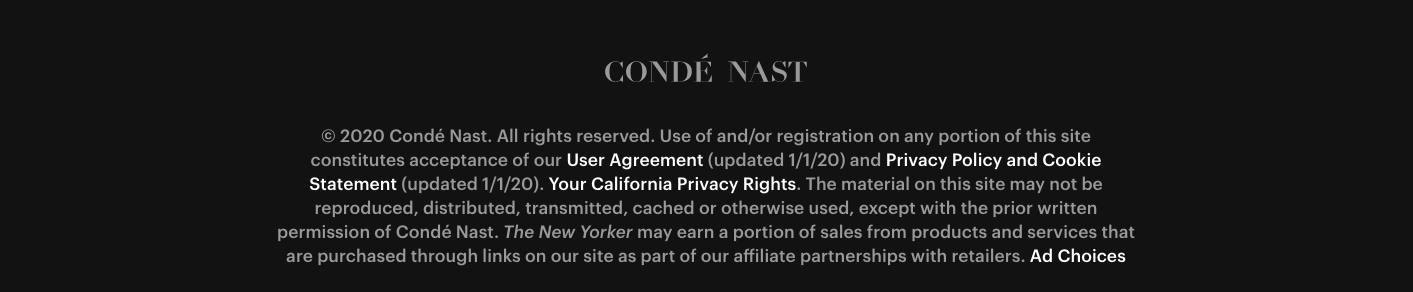 Privacy policy excerpt and link in The New Yorker's website footer
