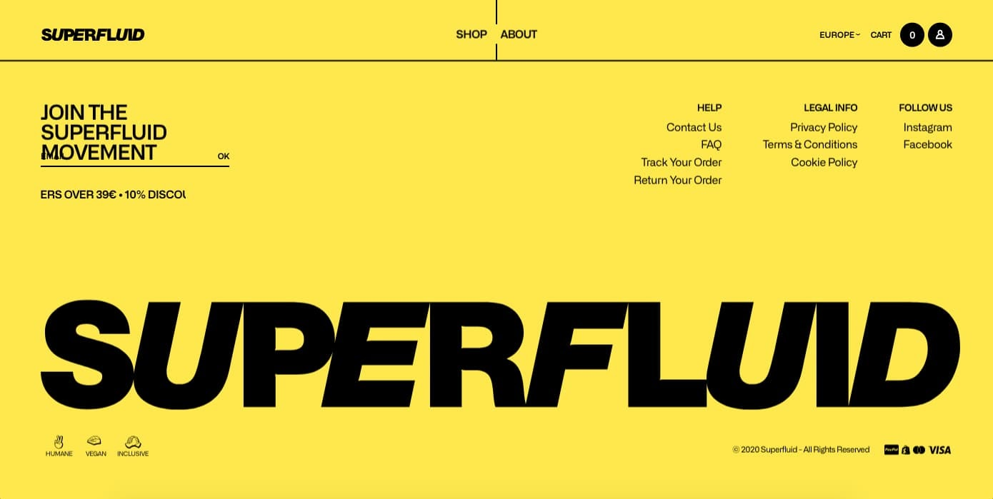 Superfluid's website footer contains the standard features with bold branding